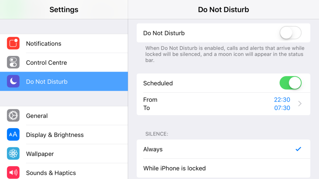 iOS 11 Do Not Disturb
