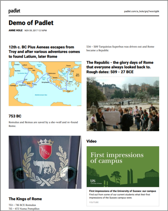 Padlet exported as a PDF