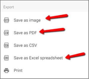 Select export format