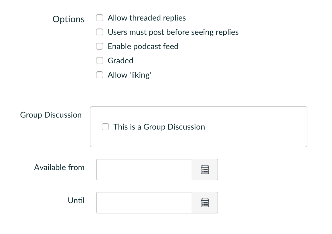 Screenshot showing the options for individual discussions in Canvas