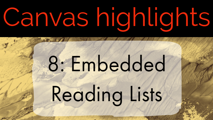 Canvas highlights 8: Embedded Reading Lists