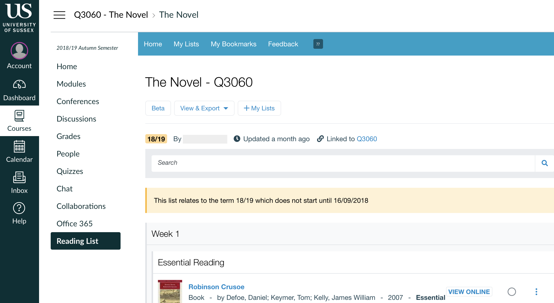 Screenshot showing a student's view of the reading list in Canvas