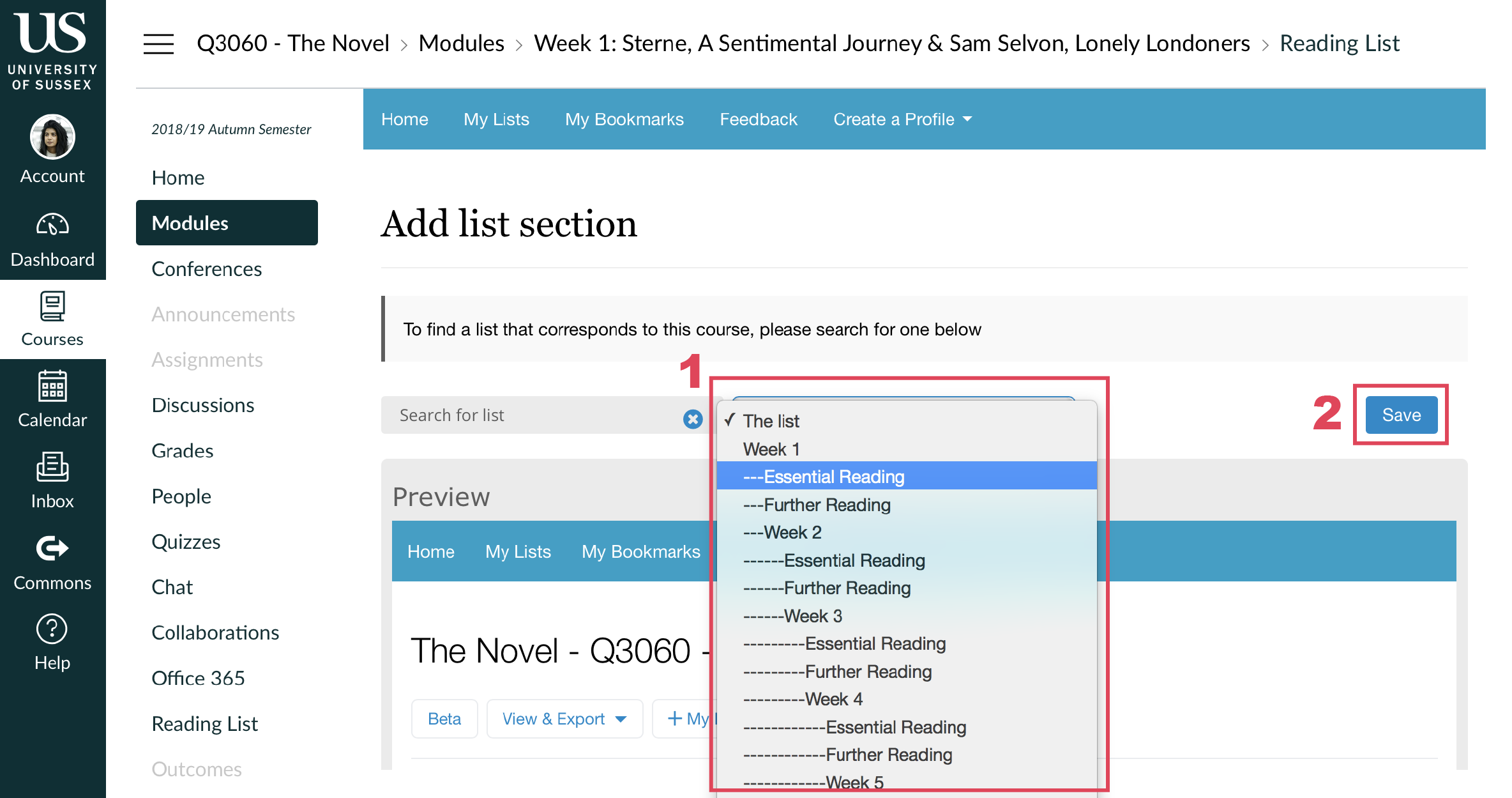 Screenshot showing the reading list section selector