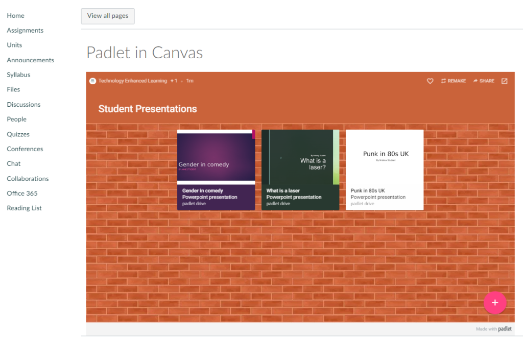 Padlet embedded in Canvas