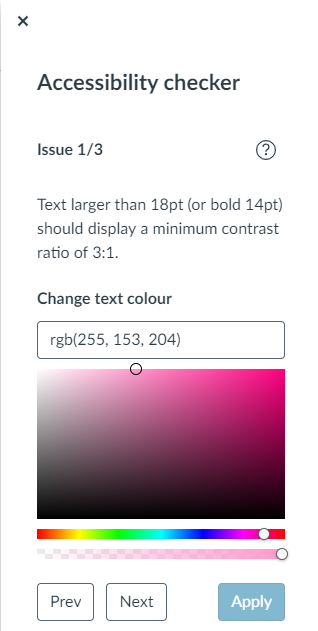 Illustrative image - An image of the Accessibility checker showing the option to alter the text colour.