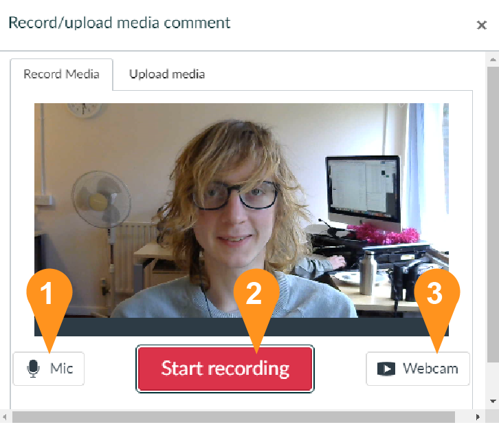 An image showing the Record/upload media menu highlighting the three key buttons, the Mic, the Start recording and Webcam button