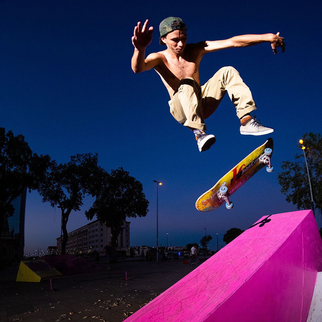 skateboarder flipping his board