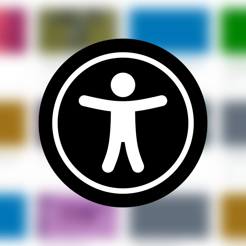 Universal Accessibility Icon: The icon depicts a person with arms outspread