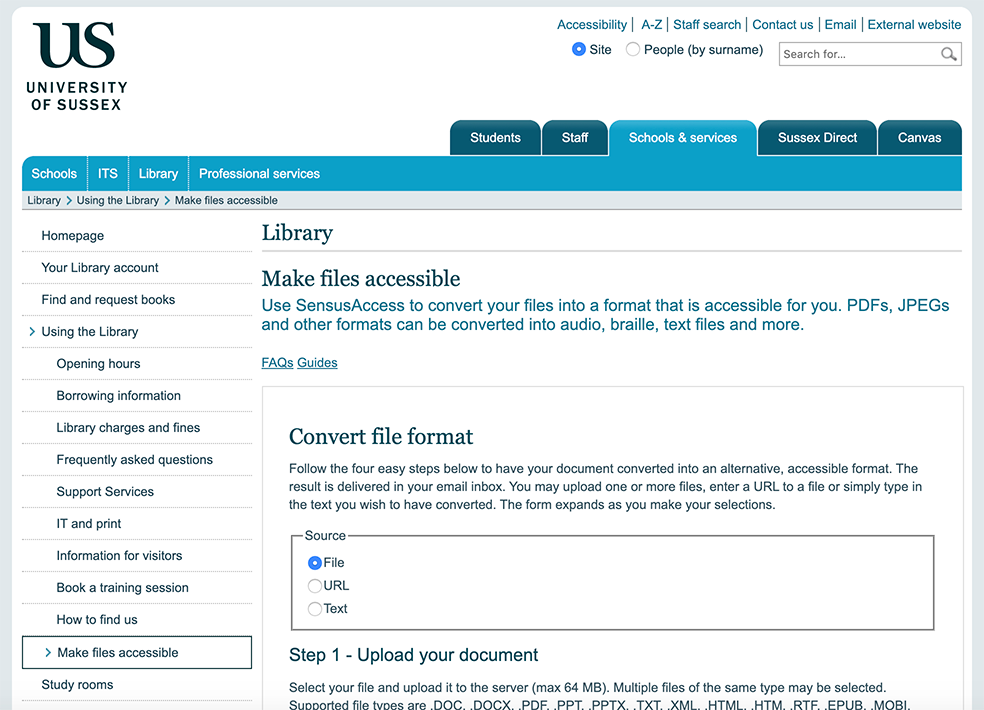 screenshot of SensusAccess on Library website