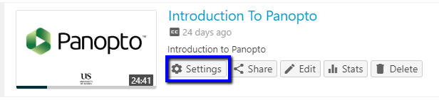 Screenshot showing the Settings button on a Panopto recording.