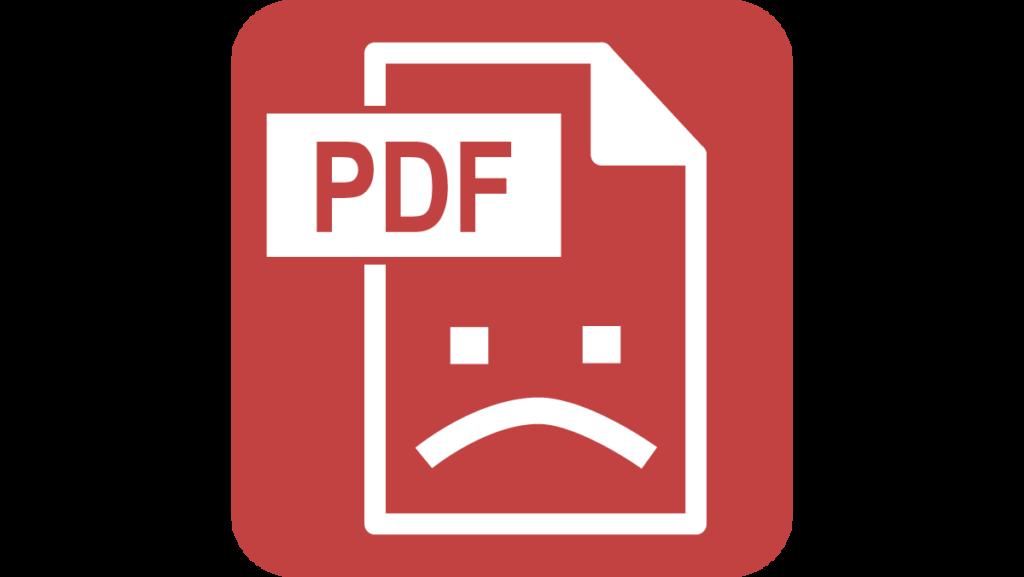 PDF Icon with a sad face.
