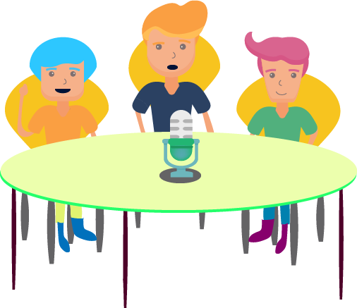 three characters sitting around a table with a microphone