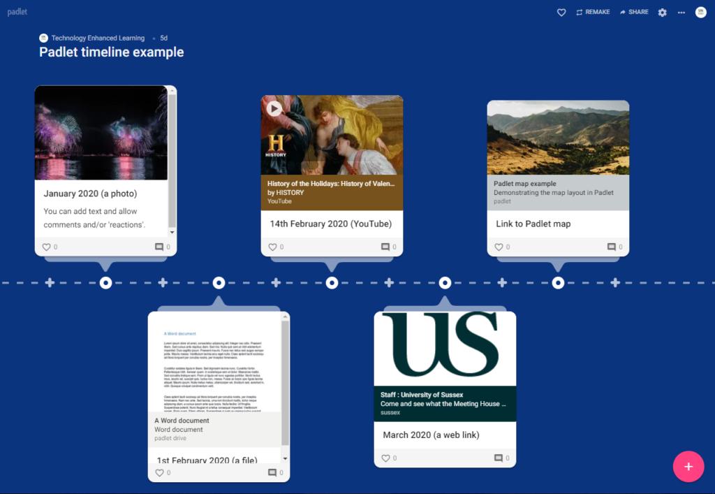 Example of a Timeline Padlet https://uofsussex.padlet.org/tel34/k8bg3s8uezg1