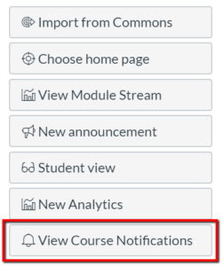 screenshot of panel on home page showing View Course Notifications button