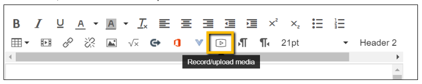 Screenshot showing he Record/Upload media icon.