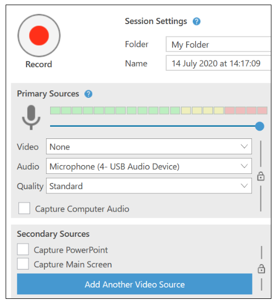 Screenshot showing Panopto settings for an audio-only recording