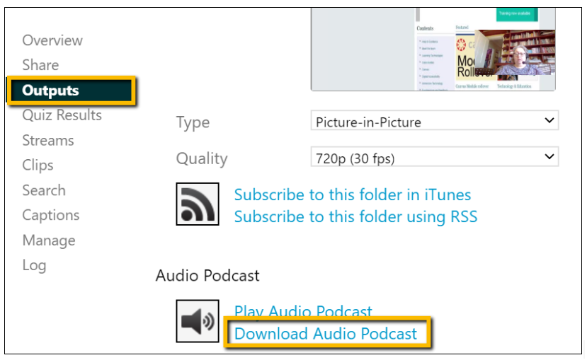 Screenshot showing where to download the audio from a Panopto recording.