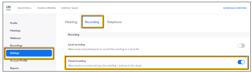 Screenshot showing Zoom settings to record to the cloud