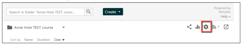screenshot showing Panopto folder settings