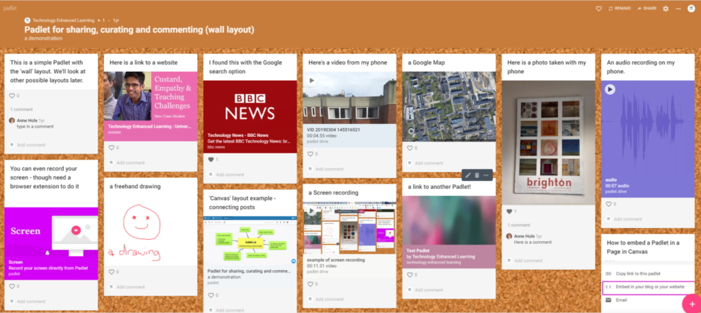 Example Padlet showing a range of content.