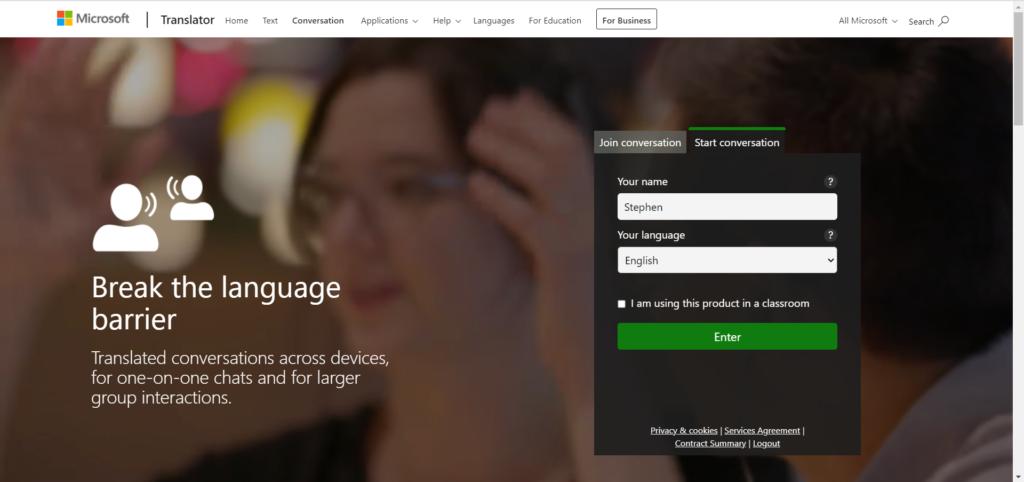 A screenshot of the Microsoft Translate homepage