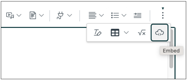 To use embed code from an external app in a Canvas page look for the cloud icon in the Canvas editor, sometimes hidden in the three dots icon.